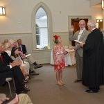 11.07.16 New Magnolia Springs town council sworn in at St  Paul's Church. Mayor Bob Holk, Council members Donna Eslanger, Nick Shields, Marlie Gardner Ben Dykma. Out going mayor Ken Underwood, County Judge Tim Russell.