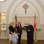 11.07.16 New Magnolia Springs town council sworn in at St  Paul's Church. Mayor Bob Holk, Council members Donna Eslanger, Nick Shields, Marlie Gardner Ben Dykma. Out going mayor Ken Underwood, County Judge Tim Russell. Photos by Ron Frehm MSVFD